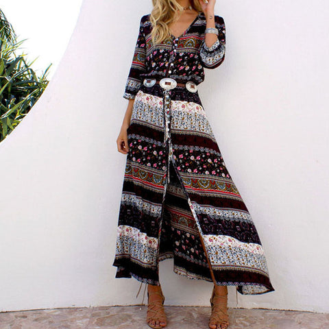 Bohemian printing long dress women maxi long dress floral print retro hippie vestidos chic brand clothing boho dress