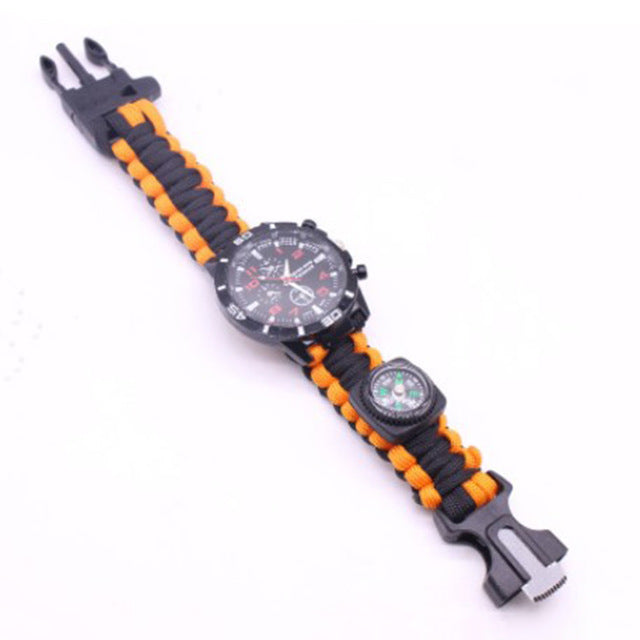 Outdoor Camping Rescue Rope Watch & Compass 4 In 1 Bracelet