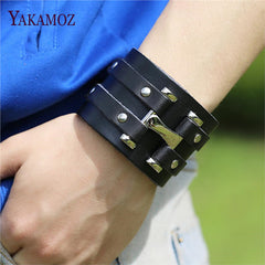 Pure Handmade Genuine Leather Bracelets Brand Fashion Punk Wide Cuff Bracelets & Bangle for Women Men Jewelry Accessory
