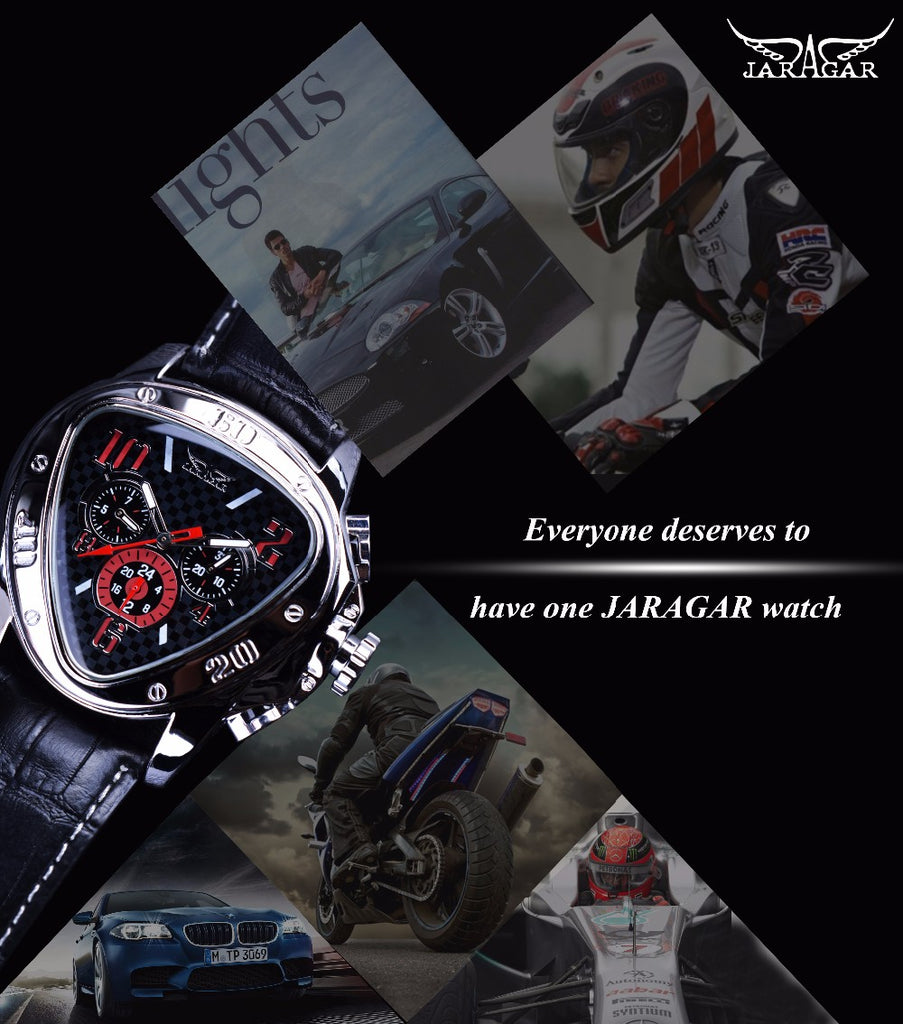 Jaragar Sport Racing Design Geometric Triangle Mens Watches