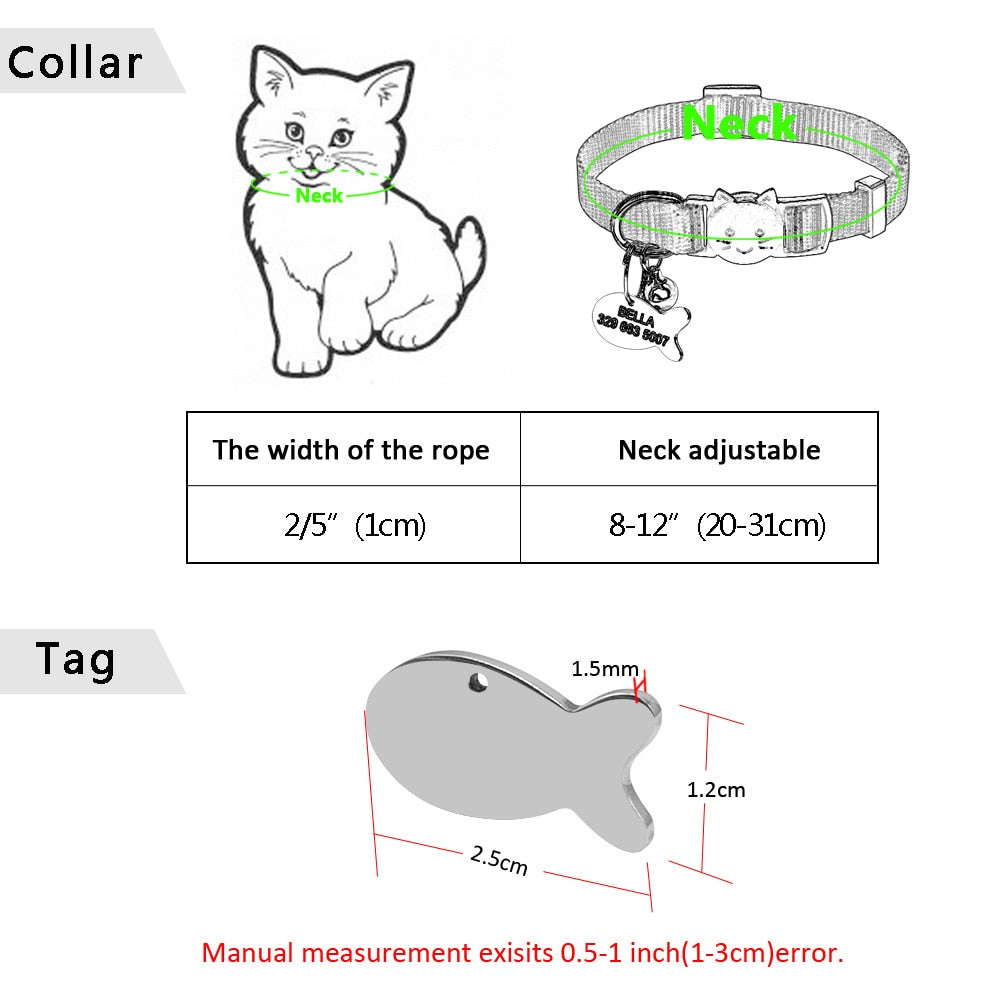 QUICK RELEASE CAT COLLAR PERSONALIZED BREAKAWAY SAFETY COLLAR WITH ENGRAVED FISH ID TAG