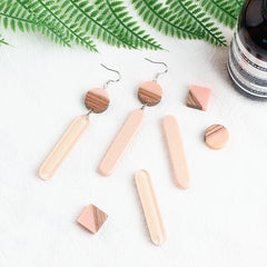 DIY handmade jewelry accessories wood and resin geometrical square round ellipse strip earrings earrings pendant material