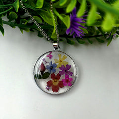 Romantic Flower Pendant Stainless Steel Necklace Silver Plated Resin Flower Charm Necklace Jewelry for Woman