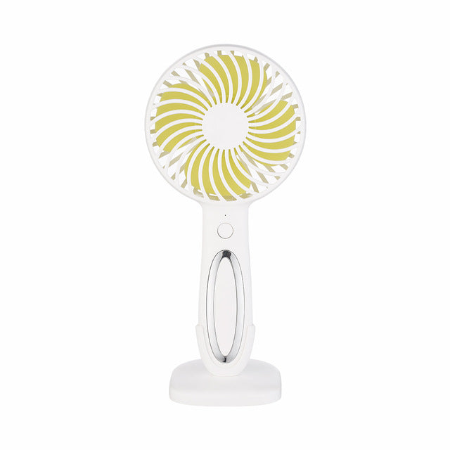 Mini Fan Portable LED Light Fan Mini Desk USB Rechargeable Air Cooler 3-Speed Regulation Hand Held Cooling Fan