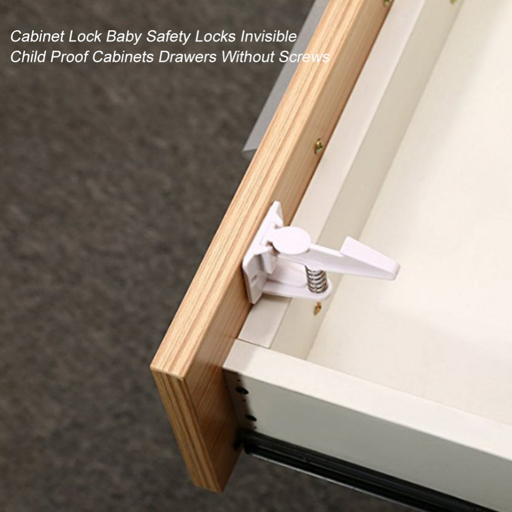 10PCS Safety Locks Plastic Child Protection Lock Cabinet Door Drawers Kids Baby Care Safety Locks Invisible Proof Drawers