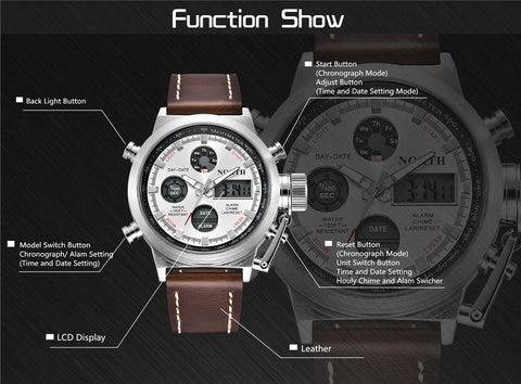 Men Luxury Quartz Sports Watches With LED Digital Electronic