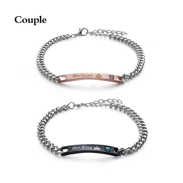 1PC Stainless Steel Lover Couples her Beast& His Beauty Bangles Her King His Queen Bracelets Men Women Jewelry Valentine's Day