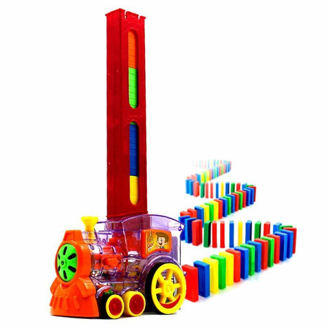 60pcs Dominoes Set Motorized Train that Sets Up the Dominoes with Loading Cartridge Lights & Sound toys gift for children kid