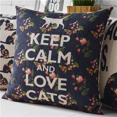 Cushion Cover KEEP CALM AND LOVE CATS