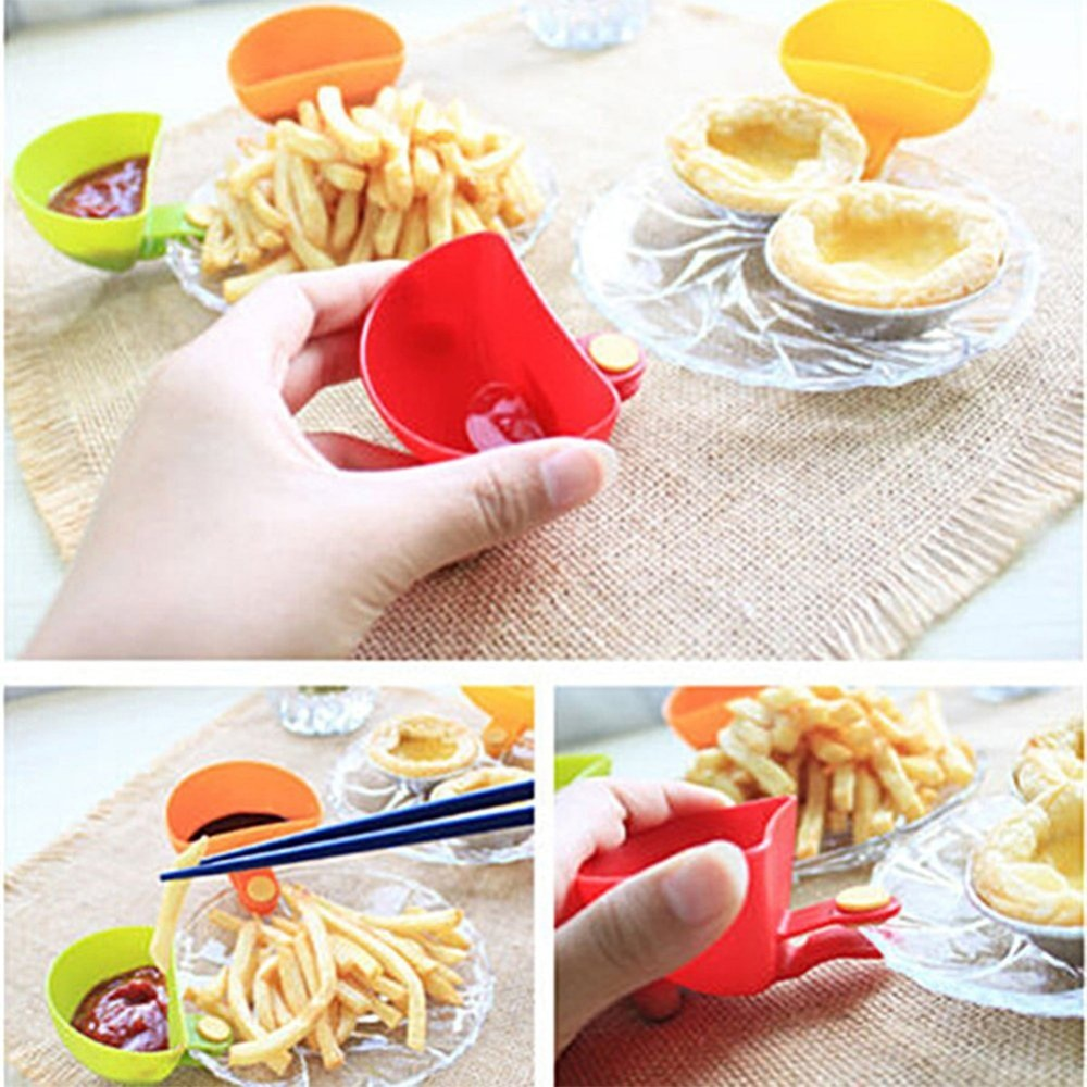 1Pcs Dip Clips Kitchen Bowl kit Tool Dish Spice Clip For Tomato Sauce Salt Vinegar Sugar Flavor Spices Holder Kitchen Spice Tool
