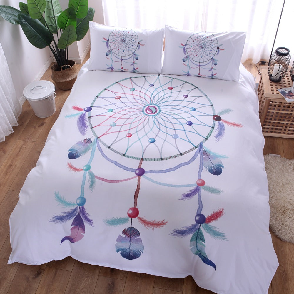 3D Dream Catcher Feather Duvet Cover Set With Pillowcase Bohemian Bedding Set Single Double Queen King 2/3Pcs No Sheet