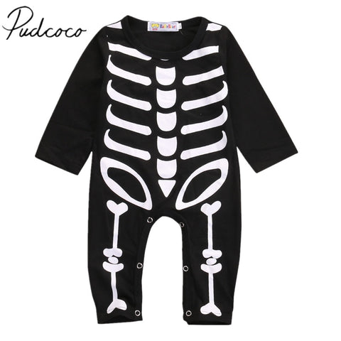 New Newborn Baby Boy Girl Halloween Rompers Long Sleeve Black Cotton Jumpsuits Skull Playsuit Novelty Outfit 0-24M