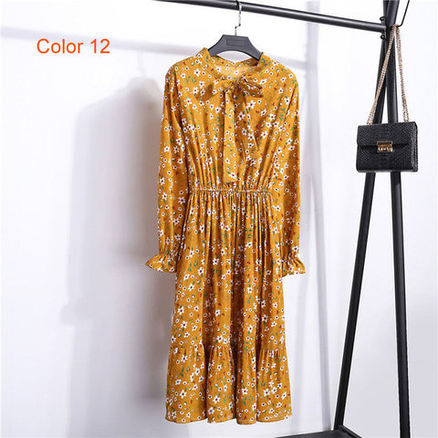 Chiffon High Elastic Waist Party Dress Bow A-line Women Full Sleeve Flower Print Floral Bohemian Dress