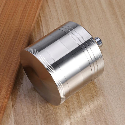 4 Layers Spice Grinder Herb Grinder with Mill Handle (Silver)