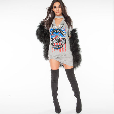 Women Fashion Shirt Eagle Motorcycle Sexy Halter Tops V-neck Printed Long T-shirt