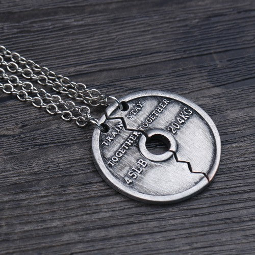 2019 2pcs Vintage Silver Jewelry Fitness Dumbbell Piece Puzzle Pendant Necklace Men Bodybuilding Unisex Long Paired Necklace