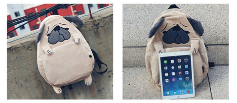Backpack Canvas Cute Dog & Fox