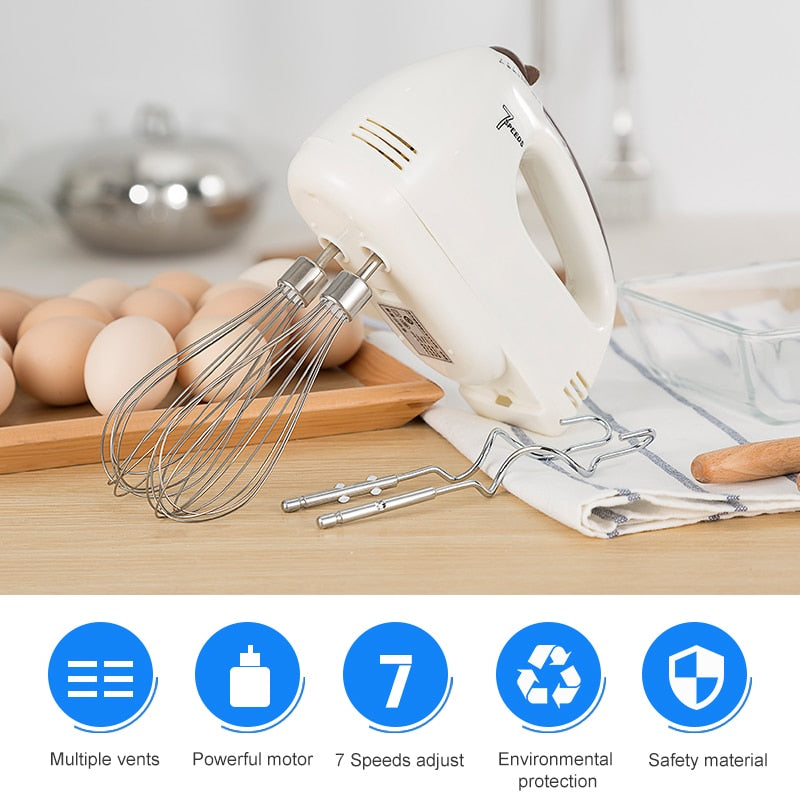 ANIMORE Electrical Handheld Food Blender 7 Speed Adjust Double Whisk Eggs Mixer Batter Beater