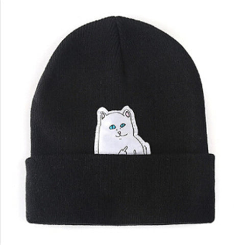 Naughty Middle Finger Cat Hat & Beanie