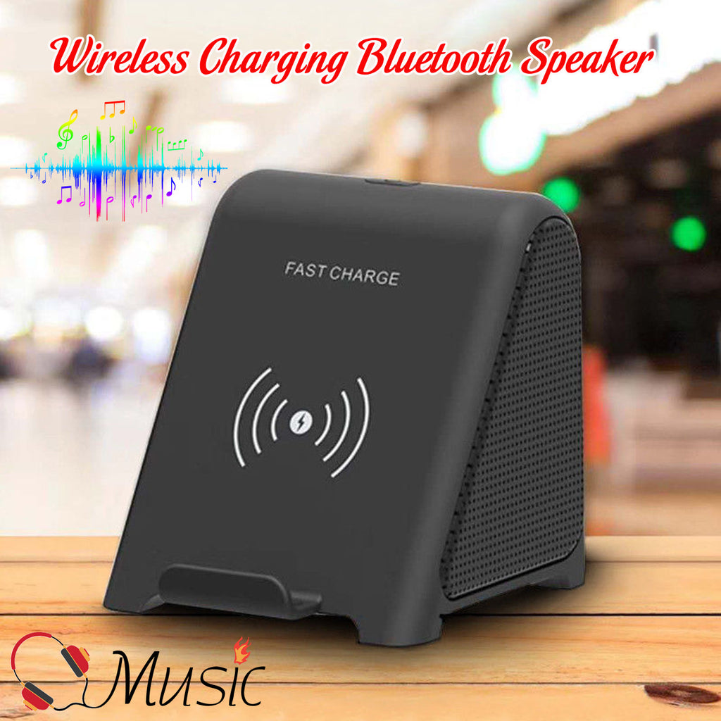 Qi Fast Wireless Charging Stand Charger With bluetooth Speaker For ALL Qi Phones Portable Audio & Video Speakers