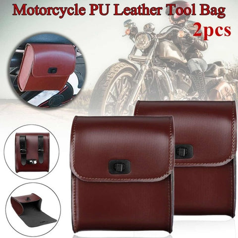 Pair Black PU Leather Motorcycle Tool Bag Luggage Saddle Bags with Ample Space to Store for Harley Universal