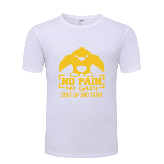 No Pain No Gain Shut Up and Train Fitness Bodybuilding T Shirt Tshirt Men 2018 New Short Sleeve Cotton Casual T-shirt Top Tee