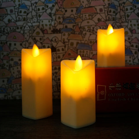 3pcs/set Heart-shaped LED Candles Yellow Tea Light Simulation Flame Flicker Electronic