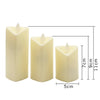 Image of 3pcs/set Heart-shaped LED Candles Yellow Tea Light Simulation Flame Flicker Electronic