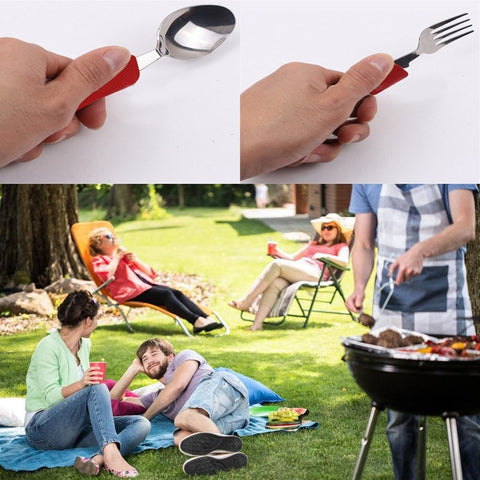 Camping Utensils, Portable Stainless-Steel Spoon, Fork, Knife and Can / Bottle Opener with Case (2-pack)