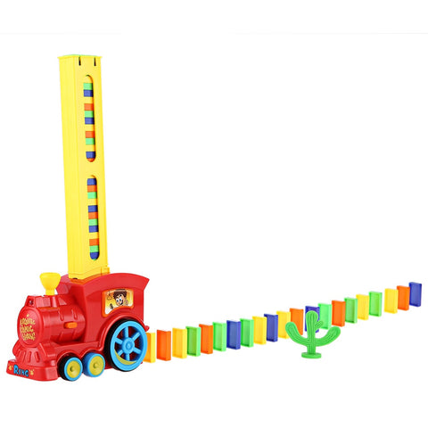 Classic Domino Rally Train Toy Set Plastic Ideal Assembled Toys Educational Toys Birthday Christmas Gift With Light Sound