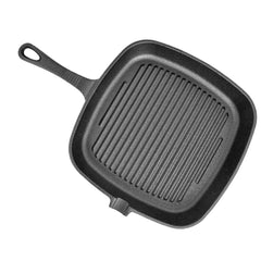 Non-Stick Cast Iron Grill Frying Pan 24X24cm Multifunction Griddle BBQ Cooking Baking Home Kitchen