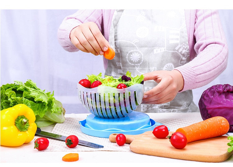 Upgrade Salad Cutter Bowl Vegetable Fruits Slicer Chopper Washer And Cutter Quick Salad Maker in 1 Minute Easy To Clean