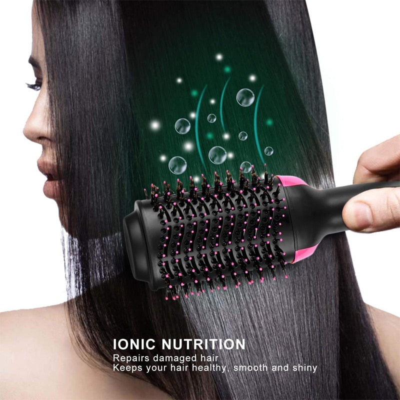 1000W Professional Hair Dryer Brush 2 In 1 Hair Straightener Curler