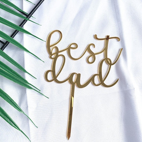 Super DAD Acrylic Cake Topper BEST DAD EVER Cake Decoration Fathers Day Party Decorative Cake Topper Supplies Father's Day Gift