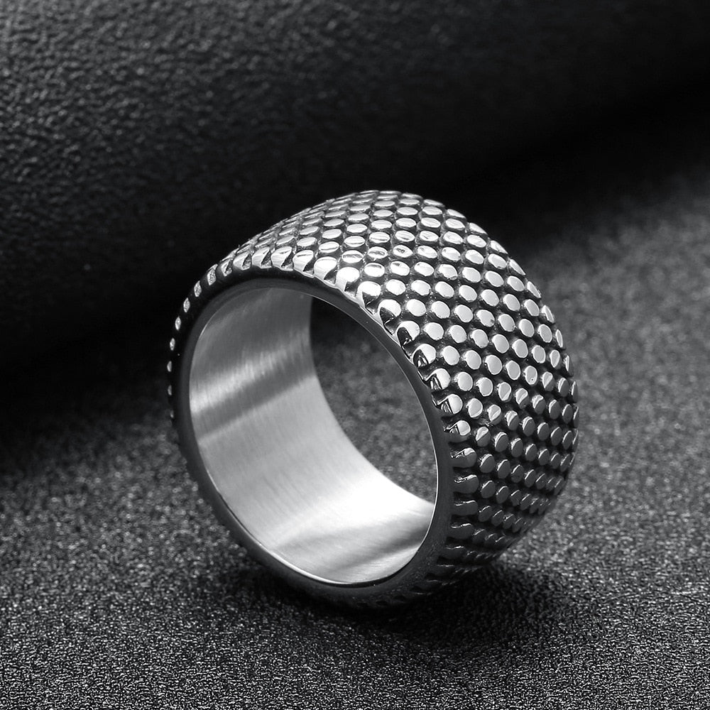 New 13mm Antique Silver Style 316L Stainless Steel Mens Tire Ring Couple Jewelry Punk Rings For Male Wedding Band Jewelry R008