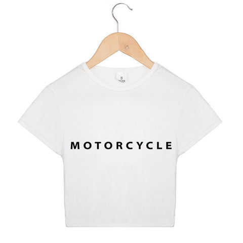 Women Crop Top Tshirt Summer Motorcycle