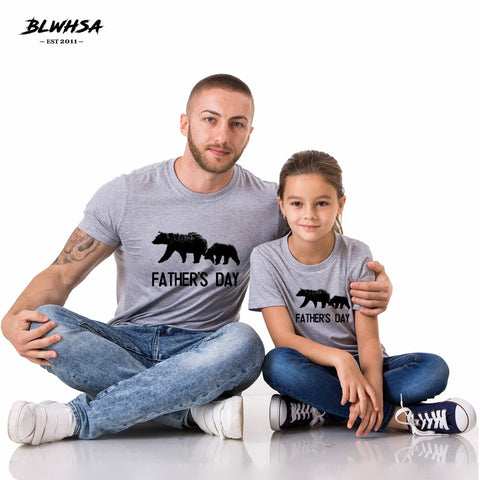 BLWHSA Father's Day T shirt 100% Cotton Parent Child Father T-shirts Funny Father Son Matching Fathers Day Gift Bear Tees