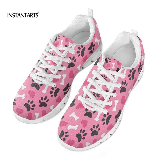 INSTANTARTS Flat Shoes Women Summer Breathable Comfortable Sneakers Cartoon Paw Pattern Students Shoe Zapator De Mujer 2019 New