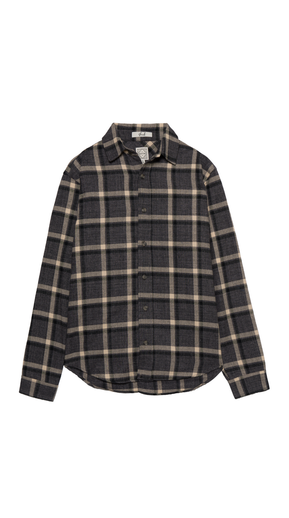 DUXTON Long Sleeve Shirt - Smoke Grey Checkered (flat)