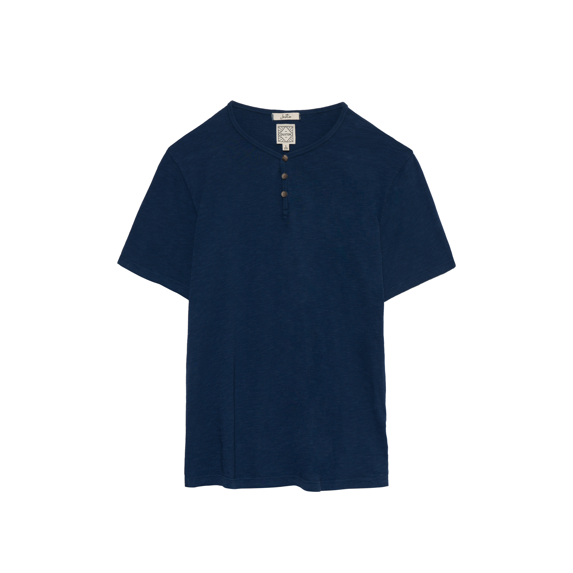 DUXTON Men's Henley Tee - Deep sea blue (flat)