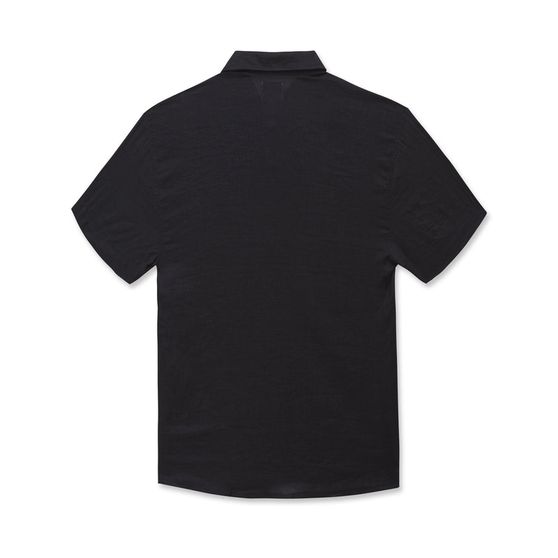 DUXTON Men's Linen Short Sleeve Shirt - Black (front)