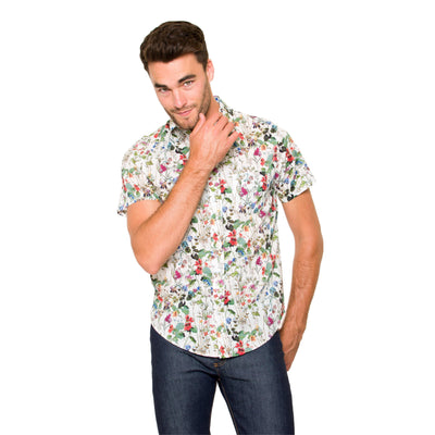 DUXTON | Mikey Short Sleeve Shirt - White Floral (front)