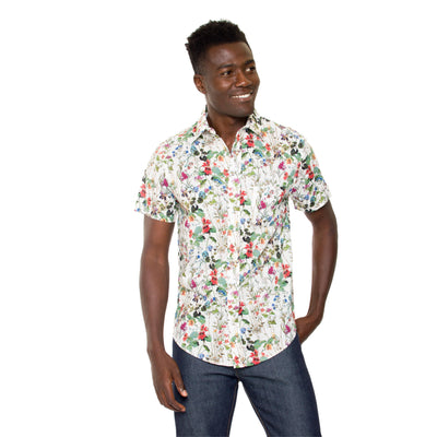 DUXTON | Mikey Short Sleeve Shirt - White Floral (front) 2
