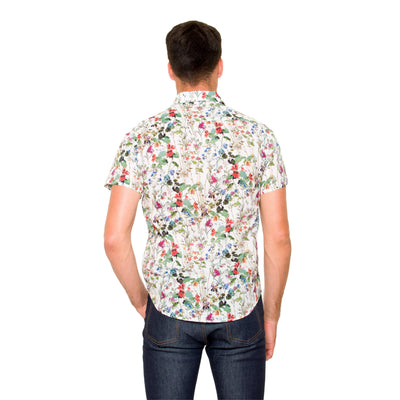 DUXTON | Mikey Short Sleeve Shirt - White Floral (back)