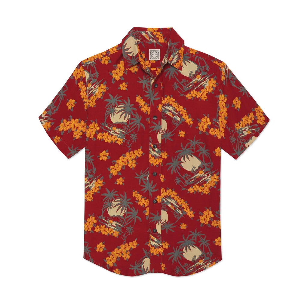 DUXTON | Aloha Shirt Button Down - Red Hula (front)