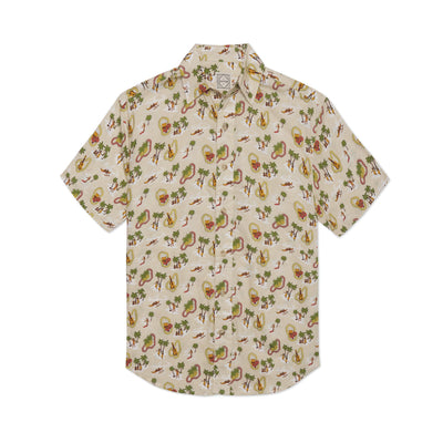 DUXTON | Aloha Shirt Button Down - Tan Hula (front)