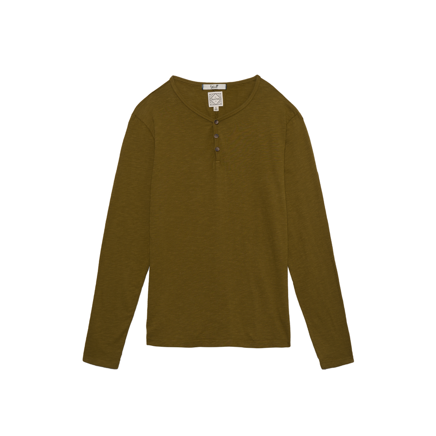 Will long sleeve henley in pine