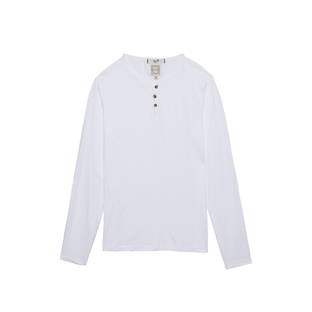 DUXTON | Long Sleeve Henley Tee - White sands