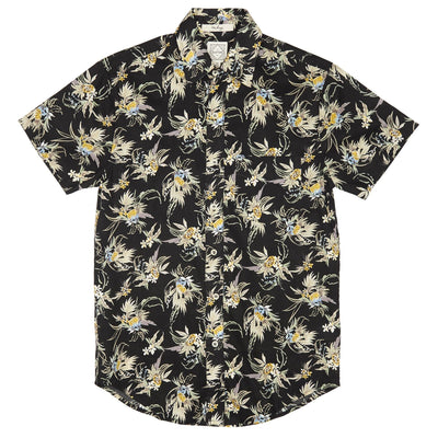 DUXTON Men's Short Sleeve Shirt - Black Floral (flat)