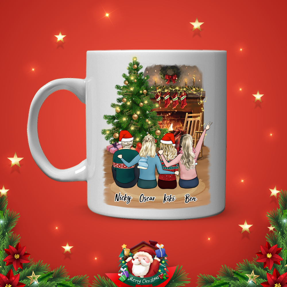 Custom Best Friends Coffee Mugs - Merry Christmas(online design & 3D preview)